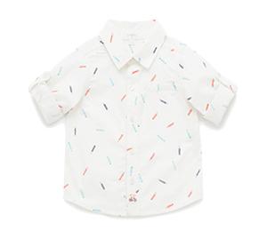 Purebaby 有機棉小畫家短衫-白底藍色印花18-24月