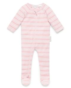 Purebaby有機棉經典包腳連身裝-粉紅色條紋