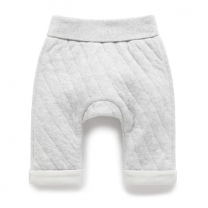 Purebaby有機棉鋪棉褲-灰色混色