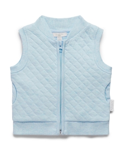 Purebaby有機棉保暖鋪棉背心-藍色混色