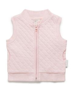 Purebaby有機棉鋪棉背心-粉色純色