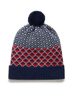 Purebaby有機棉圖騰針織帽-深藍純色