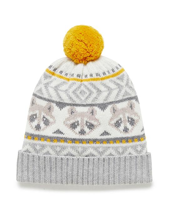 Purebaby有機棉浣熊針織帽