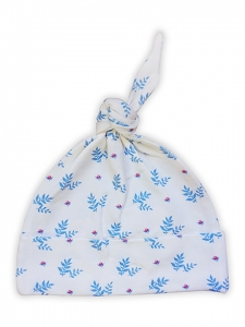 Deux Filles有機棉帶結嬰兒帽-藍色樹葉