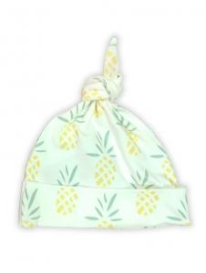 Deux Filles有機棉帶結嬰兒帽-鳳梨圖案