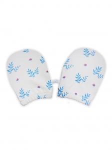Deux Filles有機棉嬰兒手套-藍色樹葉