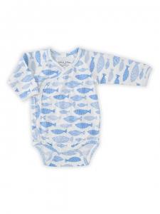 Deux Filles有機棉長袖側開襟包屁衣-藍色小魚