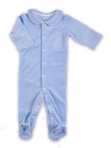 Deux Filles有機棉棉絨包腳連身裝-淺藍純色
