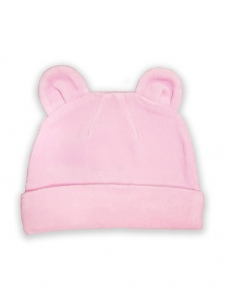 Deux Filles有機棉棉絨造型帽-粉紅純色