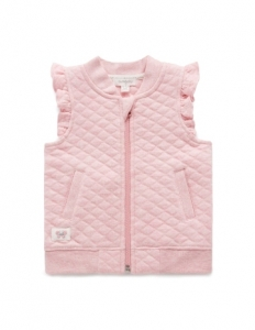 Purebaby有機棉粉色荷葉邊背心-粉色純色