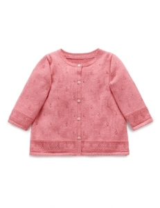Purebaby有機棉針織外套-6M~3T-粉色純色