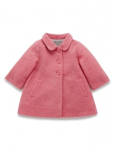 Purebaby輕盈羊毛大衣-12M~4T-粉紅色