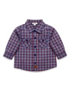 Purebaby有機棉格子襯衫-12M~4T-藍色