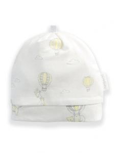 Purebaby有機棉嬰兒帽3-12月-黃色氣球