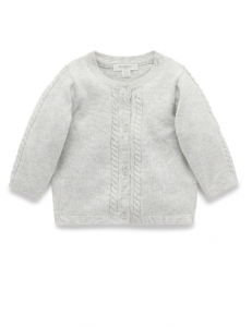 Purebaby 有機棉針織外套-灰色
