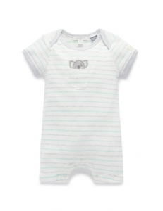 Purebaby 有機棉短袖連身裝 -絛紋
