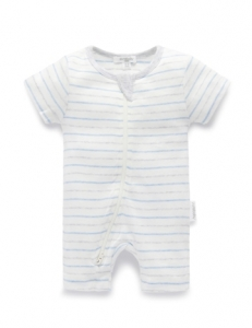 Purebaby 有機棉短袖拉鍊連身裝 -藍灰條紋