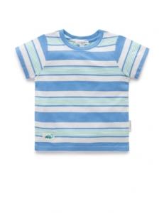 Purebaby 有機棉嬰童寬條紋上衣-藍條紋