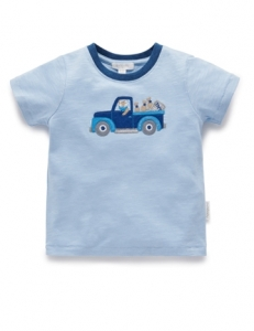 Purebaby 有機棉汽車上衣 -水藍色