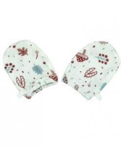 Deux Filles 有機棉嬰兒手套  -粉紅磨菇