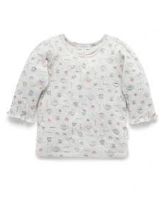 Purebaby有機棉長袖上衣-12M~4T-午茶印花