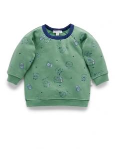 Purebaby有機棉刷毛上衣-12M~4T-軍綠色
