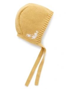 Purebaby有機棉嬰童針織帽-黃色