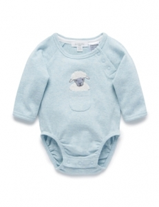 Purebaby有機棉嬰童長袖包屁衣-粉綠色