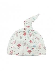Deux Filles有機棉帶結嬰兒帽-粉紅磨菇