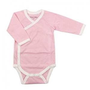 Deux Filles有機棉長袖側開襟包屁衣-粉色