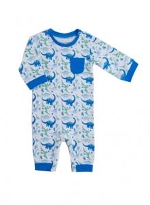 Deux Filles有機棉長袖連身裝-藍色恐龍