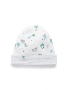 Purebaby有機棉嬰兒帽3-12月-藍色動物農莊