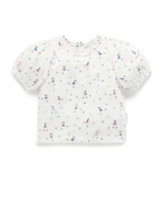 Purebaby 有機棉印花短T-白色