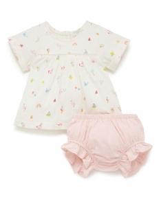 Purebaby 有機棉嬰童短袖套裝-白底印花