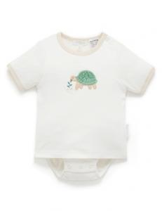 Purebaby 有機棉嬰童短袖包屁衣-烏龜