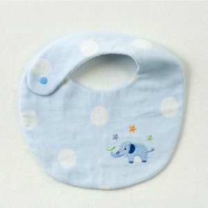 【妖精の森】藍色小象刺繡圍兜-藍色小象