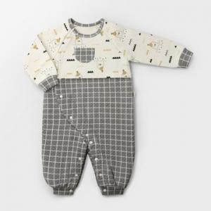 Merebe嬰兒連身裝-灰色格子