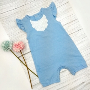 Deux Filles有機棉女童短袖連身裝-粉藍蕾絲