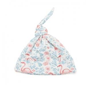 Deux Filles有機棉帶結嬰兒帽-火鶴