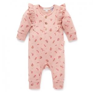 Purebaby有機棉嬰童長袖連身裝3M~18M-粉紅荷葉邊