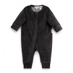 Purebaby有機棉嬰童拉鍊連身裝3M~12M-黑色絨布