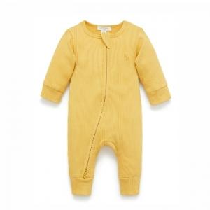 Purebaby有機棉嬰童拉鏈連身裝-芥末黃