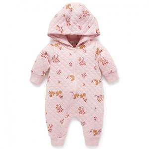 Purebaby有機棉嬰童連帽拉鍊連身裝3~12M-粉色鋪棉