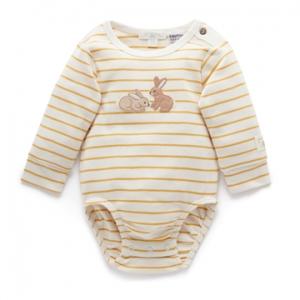 Purebaby有機棉嬰童長袖包屁衣-小兔刺繡