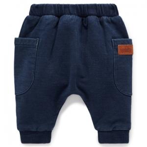 Purebaby 有機棉嬰童棉褲-深藍色