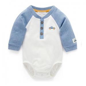 Purebaby有機棉嬰童長袖包屁衣-汽車刺繡