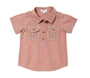 Purebaby有機棉襯衫-紅格紋