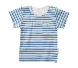 Purebaby  有機棉條紋口袋短T-藍色條紋