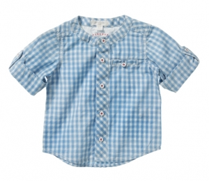 Purebaby  有機棉格紋襯衫-藍格紋18-24月