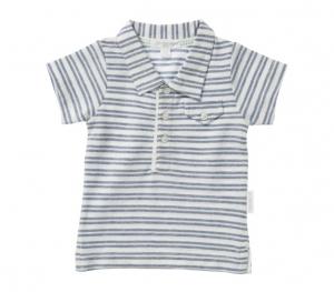 Purebaby  有機棉條紋口袋POLO衫-藍色條紋